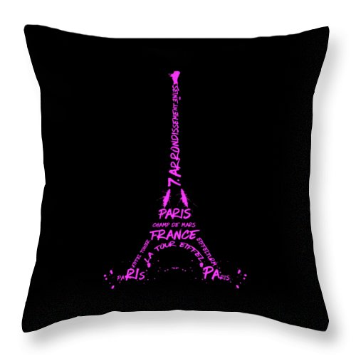 Paris Throw Pillow featuring the digital art Digital-art Eiffel Tower Pink by Melanie Viola