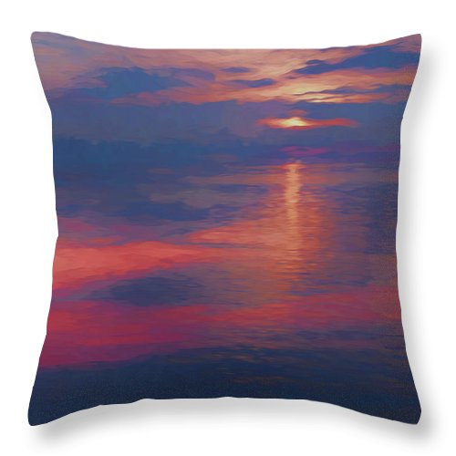 Digital Art Throw Pillow featuring the digital art digital art  SUNSET SEASIDE by Anthony Paladino