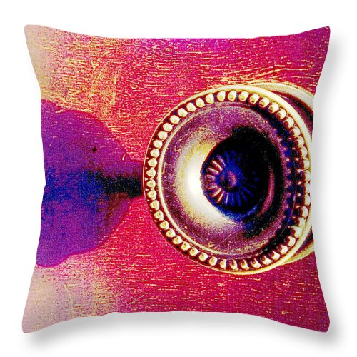 Didital Throw Pillow featuring the photograph Digital Cabinet Handle by Steve Somerville