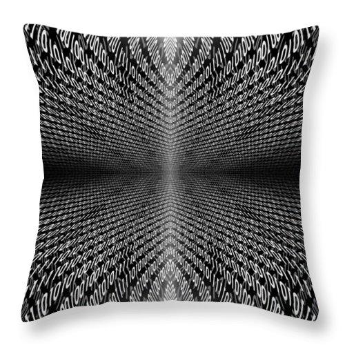 Zeros Throw Pillow featuring the digital art Digital Divide Vortex by Gordon Dean II
