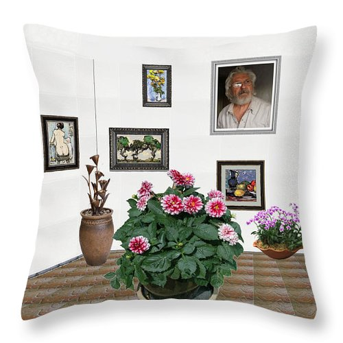 Modern Painting Throw Pillow featuring the mixed media Digital Exhibartition _ Plant 12 by Pemaro