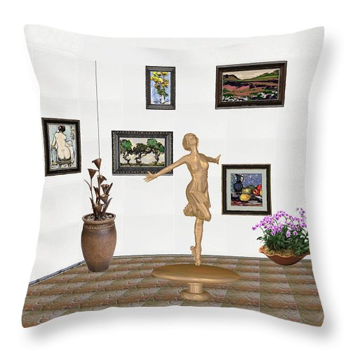 People Throw Pillow featuring the mixed media digital exhibition _ A sculpture of a dancing girl 3 by Pemaro