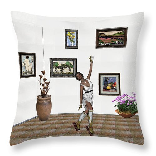 People Throw Pillow featuring the mixed media Digital Exhibition _ Dancing Girl by Pemaro