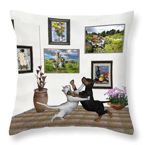 Modern Painting Throw Pillow featuring the mixed media Digital Exhibition _ Dancing Lovers by Pemaro