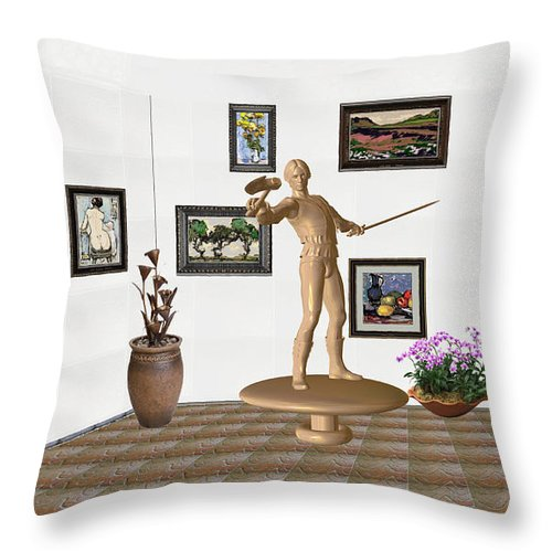 People Throw Pillow featuring the mixed media Digital Exhibition _ Guard Of The Exhibition 3 by Pemaro