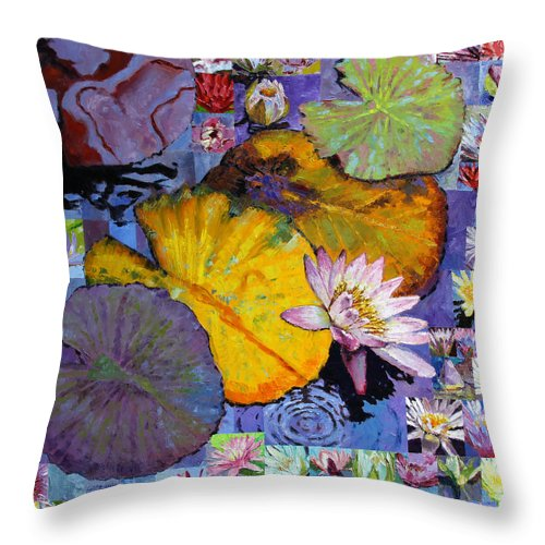 Water Lilies Throw Pillow featuring the painting Digital Lilies by John Lautermilch