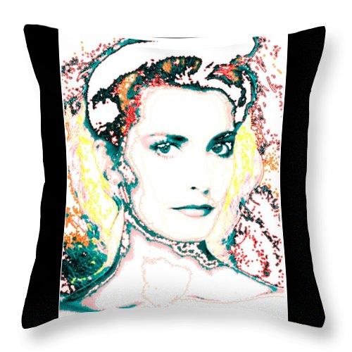 Digital Throw Pillow featuring the digital art Digital Self Portrait by Kathleen Sepulveda