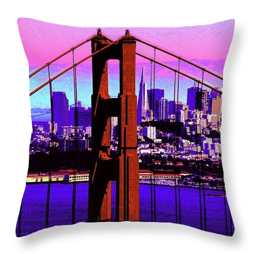 Bay Throw Pillow featuring the photograph Digital Sunset - Ggb by Lou Ford