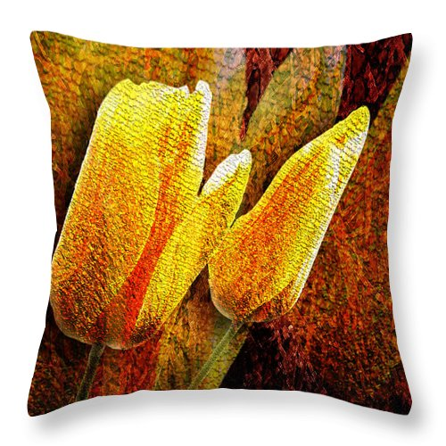 3d Throw Pillow featuring the photograph Digital Tulips by Svetlana Sewell