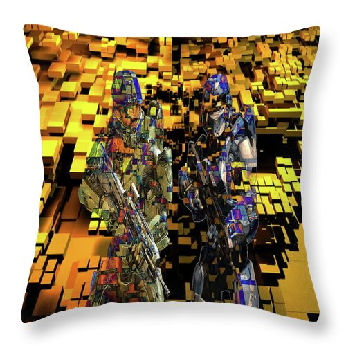 Digital War Throw Pillow featuring the photograph Digital War by Sawal Abu Bakar