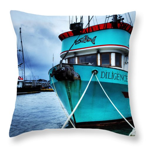 Boats Throw Pillow featuring the photograph Diligence by Bob Christopher