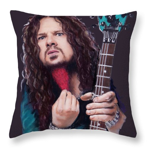 Dimebag Darrell Throw Pillow featuring the mixed media Dimebag Darrell by Melanie D