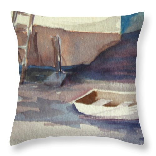 Boats Throw Pillow featuring the painting Dinghy by Carol Mueller