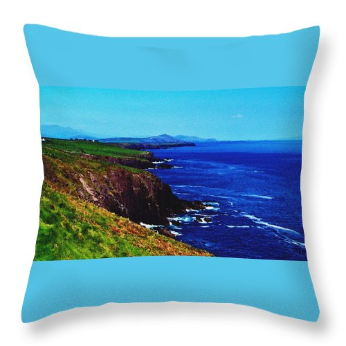 Irish Throw Pillow featuring the digital art Dingle Coastline Near Fahan Ireland by Teresa Mucha