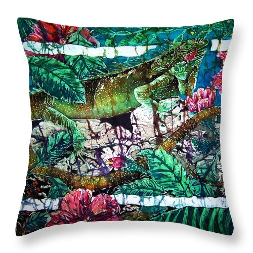 Iguana Throw Pillow featuring the painting Dining At The Hibiscus Cafe - Iguana by Sue Duda