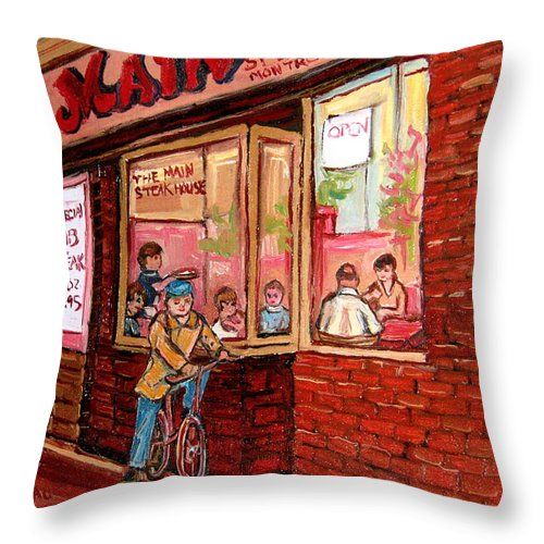 Dinner At The Main Steakhouse Throw Pillow featuring the painting Dinner At The Main Steakhouse by Carole Spandau