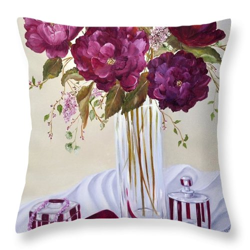 Garnet Throw Pillow featuring the painting Dinner Date by Carol Sweetwood