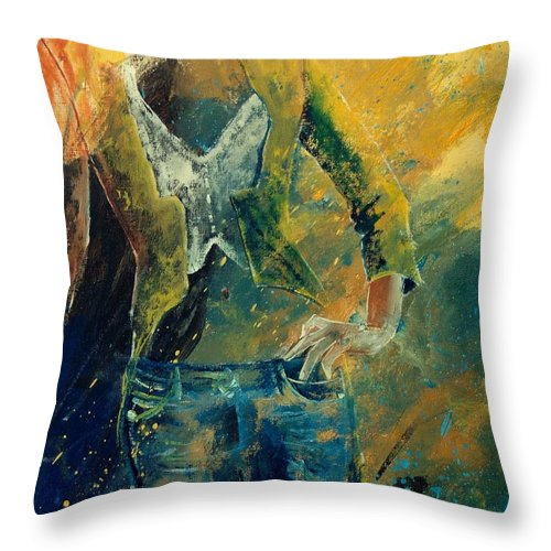 Woman Girl Fashion Throw Pillow featuring the painting Dinner Jacket by Pol Ledent
