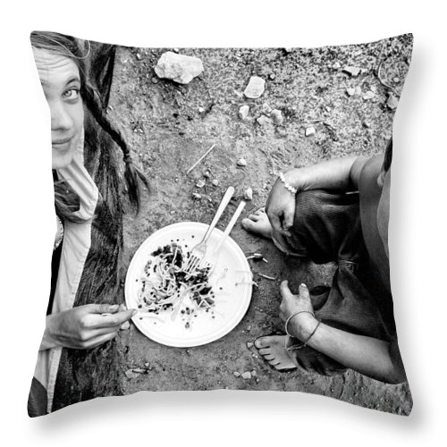 Black And White Photography Throw Pillow featuring the photograph Dinner by Justyna Lorenc