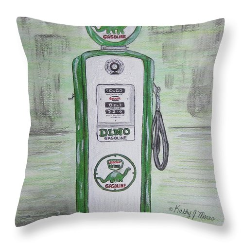 Dino Throw Pillow featuring the painting Dino Sinclair Gas Pump by Kathy Marrs Chandler