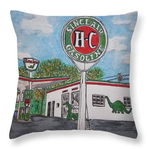 Dino Throw Pillow featuring the painting Dino Sinclair Gas Station by Kathy Marrs Chandler
