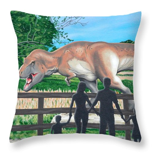 Dinosaur Throw Pillow featuring the painting Dinosaur Country by Christopher Spicer