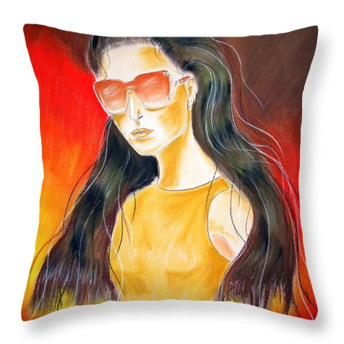 Sunglasses Throw Pillow featuring the pastel Dior..1 by Jo Hoden