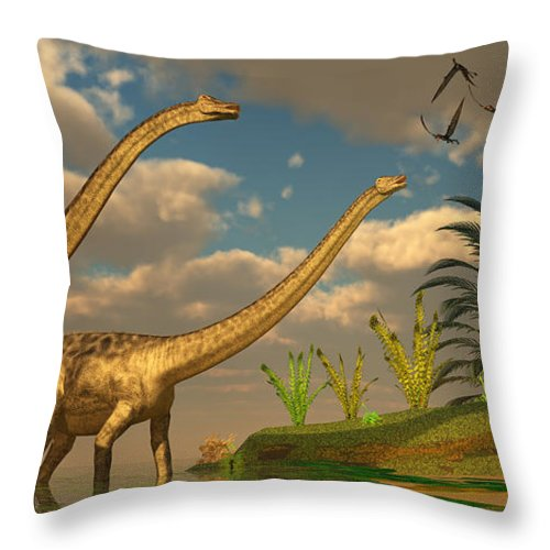 Diplodocus Throw Pillow featuring the painting Diplodocus Dinosaur Romance by Corey Ford