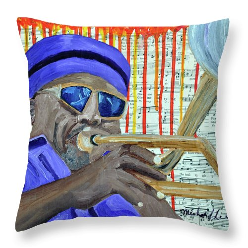 Sax Player Throw Pillow featuring the painting Dipping Red by Michael Lee