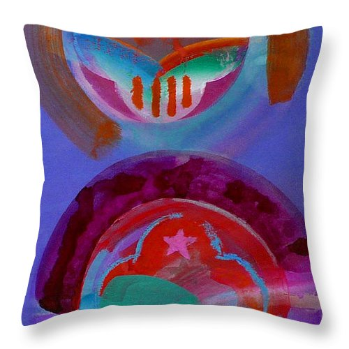 Logo Throw Pillow featuring the painting Diptych by Charles Stuart
