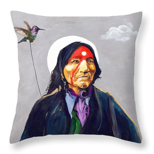 Shaman Throw Pillow featuring the painting Direct Connect by J W Baker