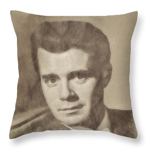 Hollywood Throw Pillow featuring the drawing Dirk Bogarde, Vintage Actor By John Springfield by John Springfield