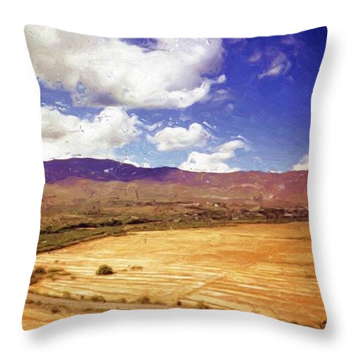 Dirt Farming Throw Pillow featuring the painting Dirt Farming by Methune Hively