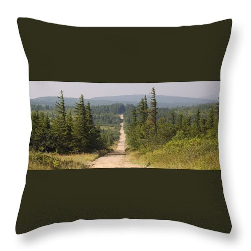 Dirt Road Dolly Sods West Virginia Appalachian Mountain Landscape Images Photgraph Prints Nature Great Outdoors Wilderness Wind Blown Pine Trees Blue Ridge Mountain Prints Throw Pillow featuring the photograph Dirt Road To Dolly Sods by Joshua Bales