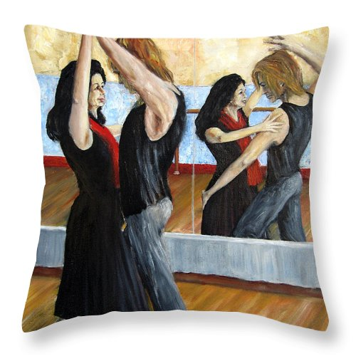 People Throw Pillow featuring the painting Dirty Dancing by Leonardo Ruggieri