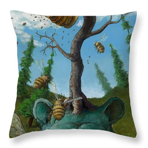 Bear Throw Pillow featuring the painting Disavowing Bear by Richardson Comly