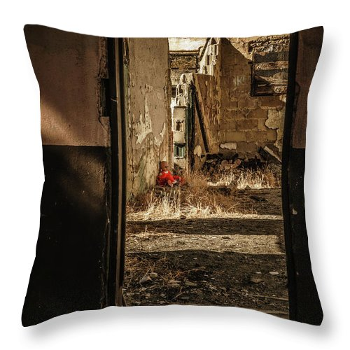 California Throw Pillow featuring the digital art Discarded Doll by Stevie Benintende