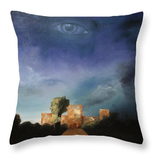 Disclosure Of The Hidden Throw Pillow featuring the painting Disclosure Of The Hidden by Darko Topalski