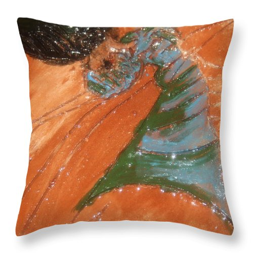 Jesus Throw Pillow featuring the ceramic art Disco - Tile by Gloria Ssali