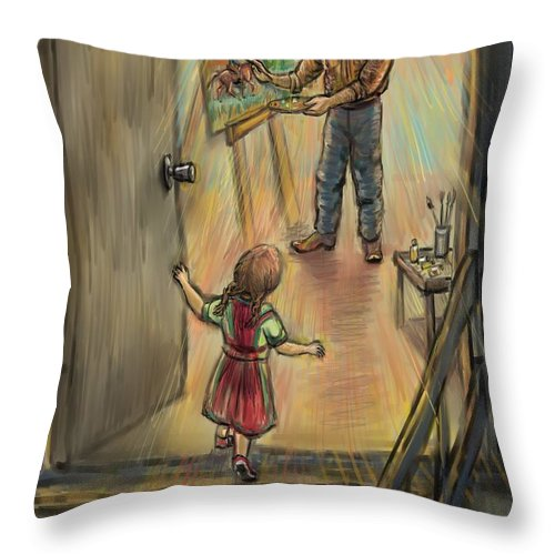 Father Throw Pillow featuring the drawing Discovering Daddy's World by Dawn Senior-Trask