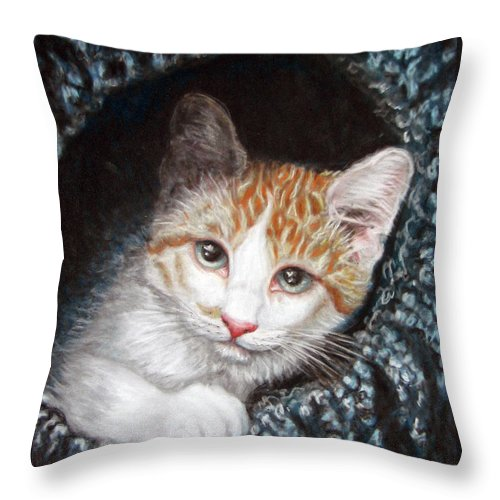 Pastels Throw Pillow featuring the pastel Discovery by Beverly Fuqua