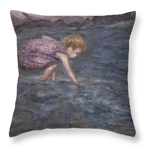 Child Throw Pillow featuring the painting Discovery by Connie Freid