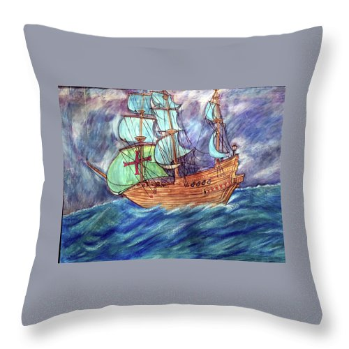 Seascape Throw Pillow featuring the painting Discovery by Marco Morales