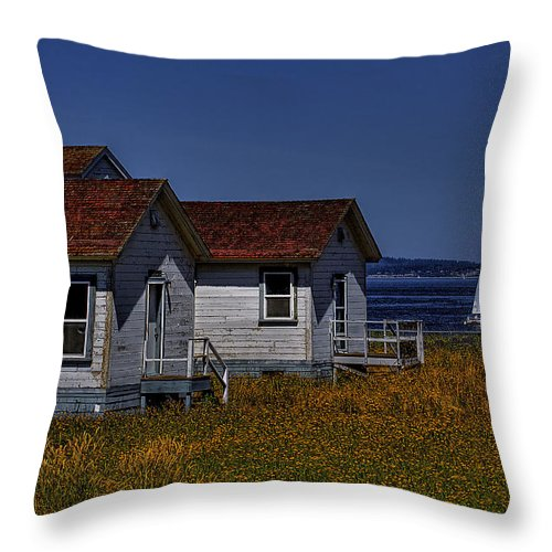 Discovery Park Throw Pillow featuring the photograph Discovery Park Homes by David Patterson