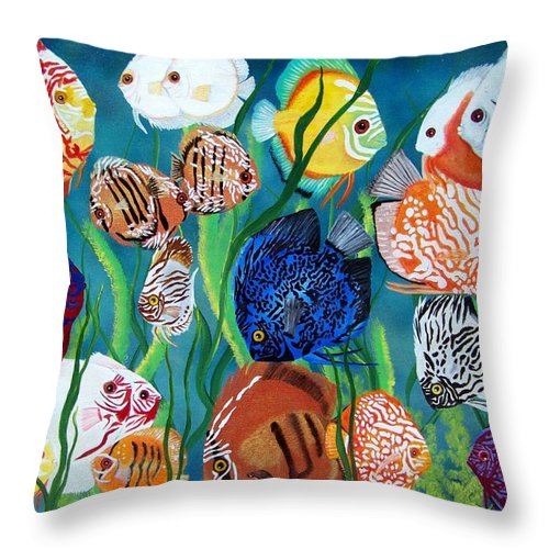 Fish Throw Pillow featuring the painting Discus Fantasy by Debbie LaFrance