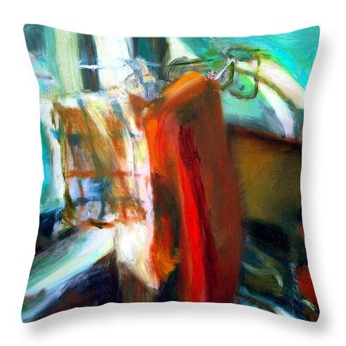 Dornberg Throw Pillow featuring the painting Dish Towells by Bob Dornberg