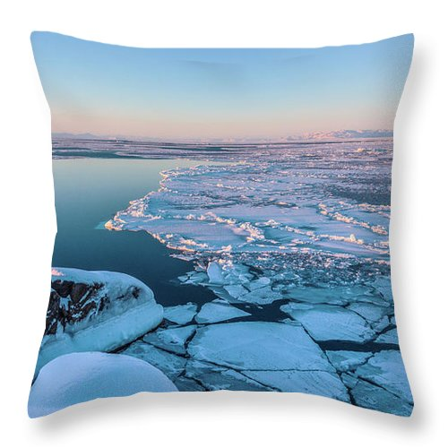 Greenland Throw Pillow featuring the photograph Disko Bay Sunset by Janet Burdon