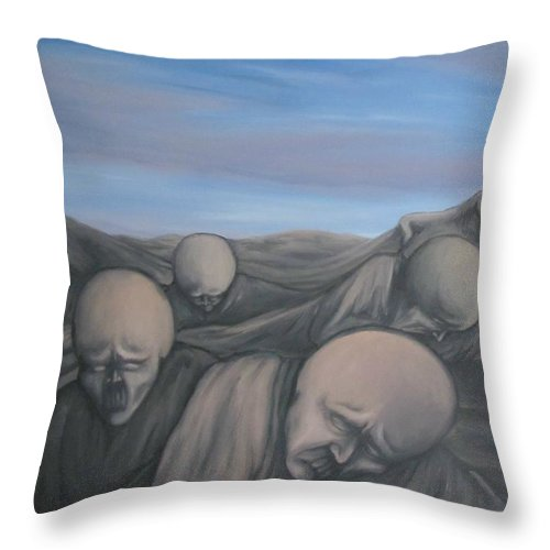 Tmad Throw Pillow featuring the painting Dismay by Michael TMAD Finney