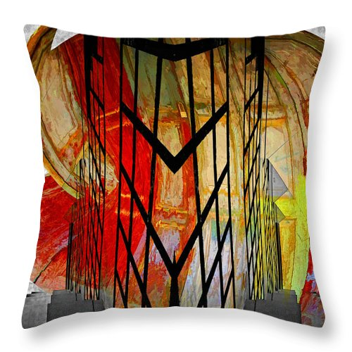 Abstract Throw Pillow featuring the photograph Displaced Doors by Claude LeTien