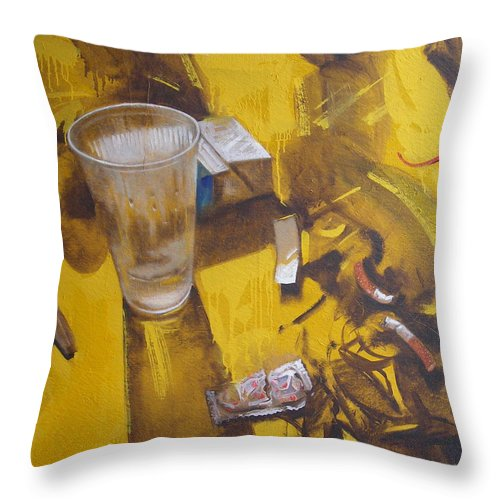 Disposable Throw Pillow featuring the painting Disposable by Sergey Ignatenko